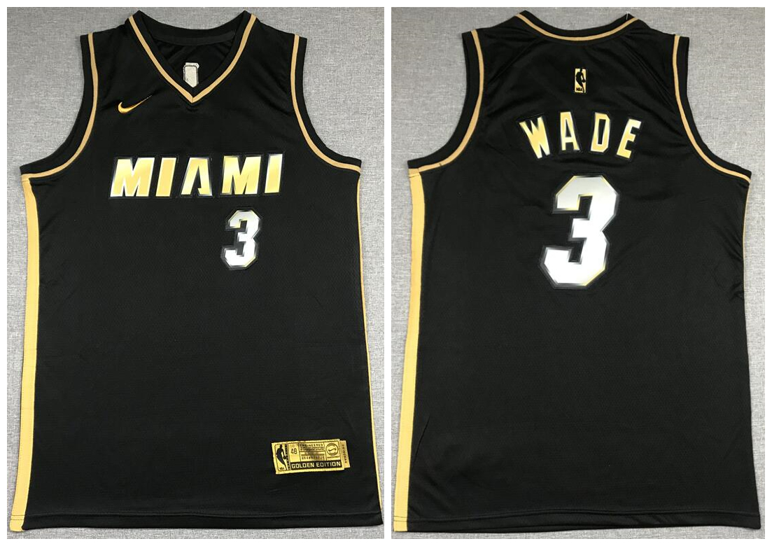 Heat 3 Dwyane Wade Black Gold 2021 Nike Swingman Jersey