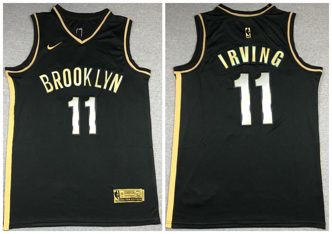 Nets 11 Kyrie Irving Black Gold 2021 Nike Swingman Jersey