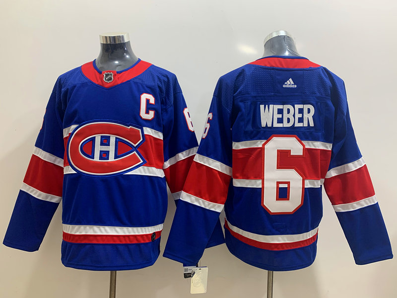 Canadiens 6 Shea Weber Blue 2020-21 Reverse Retro Adidas Jersey