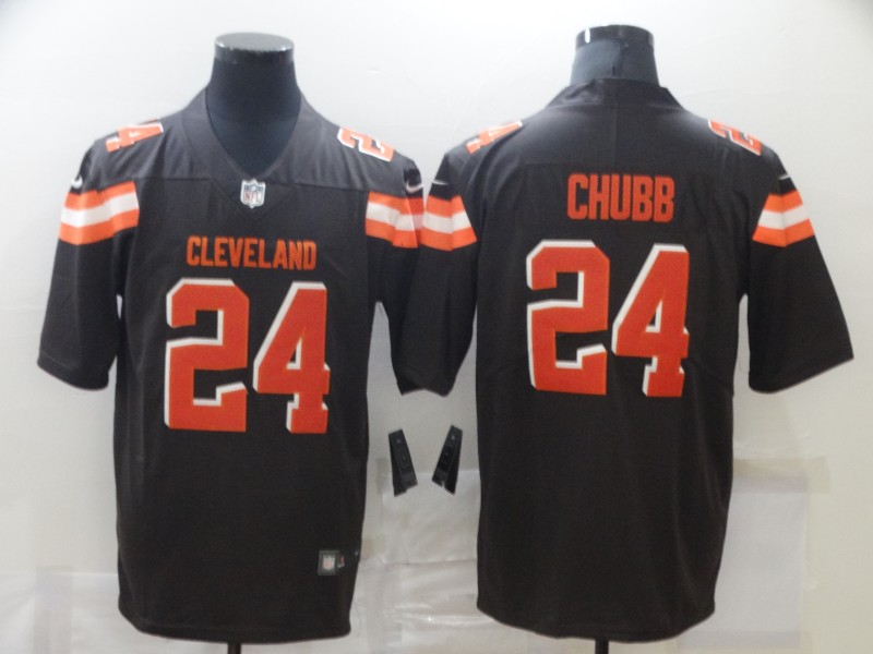 Nike Browns 24 Nick Chubb Brown Vapor Untouchable Limited Jersey
