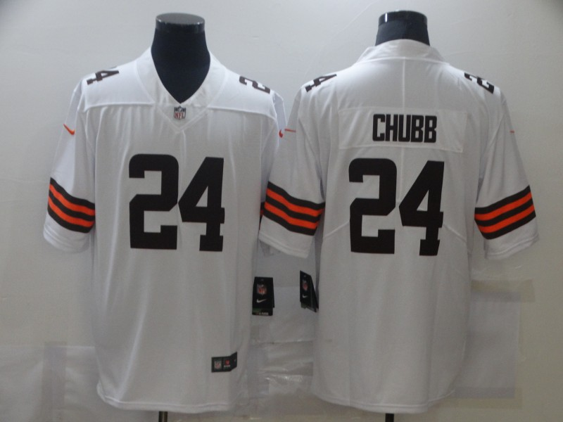 Nike Browns 24 Nick Chubb White 2020 New Vapor Untouchable Limited Jersey