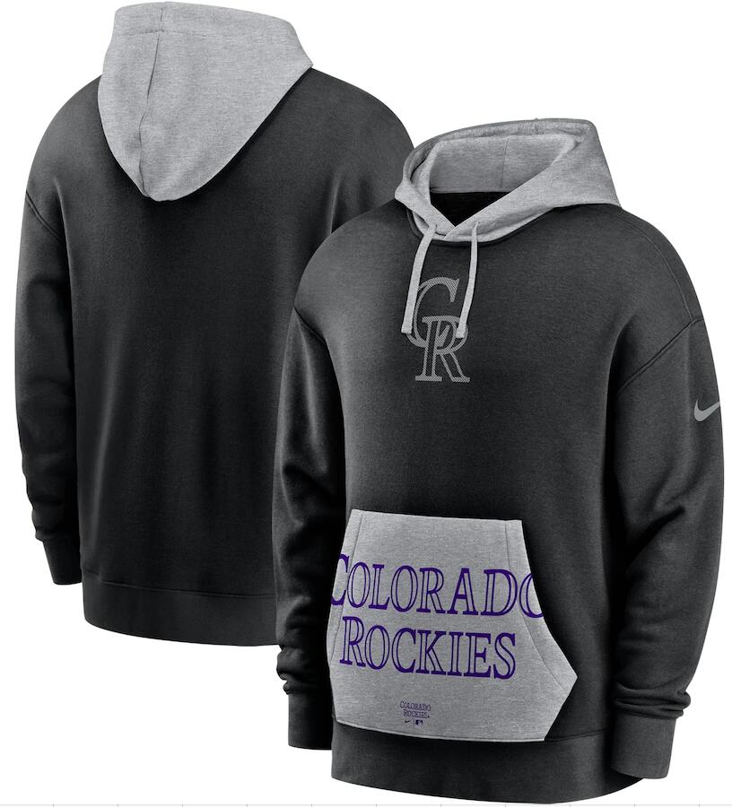 Men's Colorado Rockies Nike Black Heritage Tri Blend Pullover Hoodie