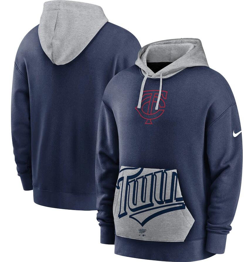 Men's Minnesota Twins Nike Navy Gray Heritage Tri Blend Pullover Hoodie