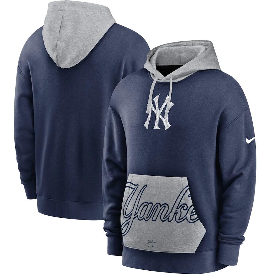 Men's New York Yankees Nike Navy Gray Heritage Tri Blend Pullover Hoodie