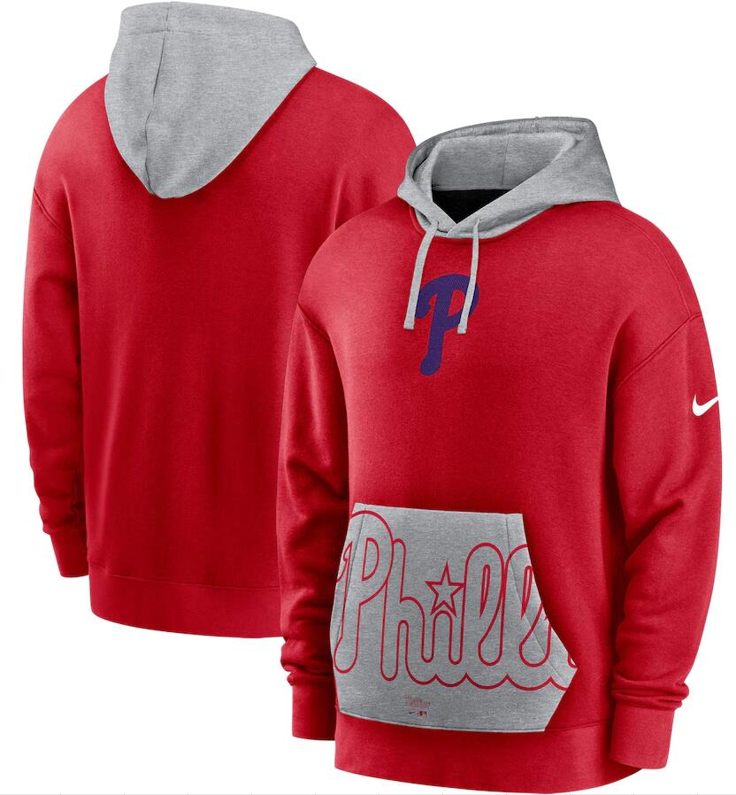 Men's Philadelphia Phillies Nike Red Gray Heritage Tri Blend Pullover Hoodie