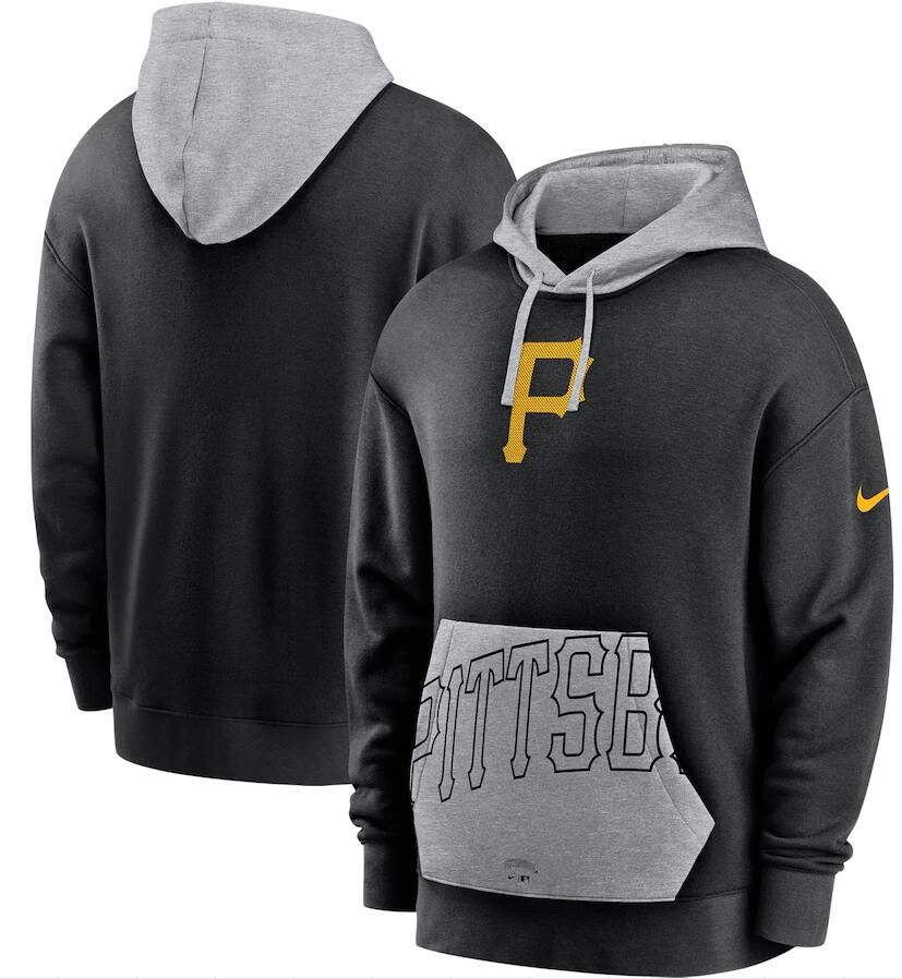 Men's Pittsburgh Pirates Nike Black Heritage Tri Blend Pullover Hoodie