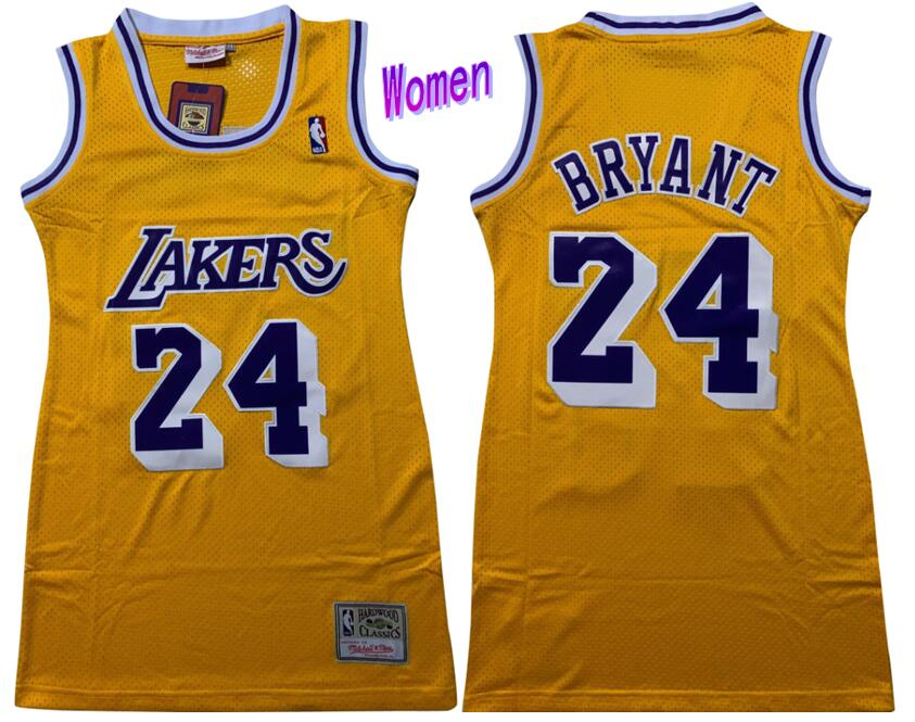 Lakers 24 Kobe Bryant Yellow Women Swingman Jersey