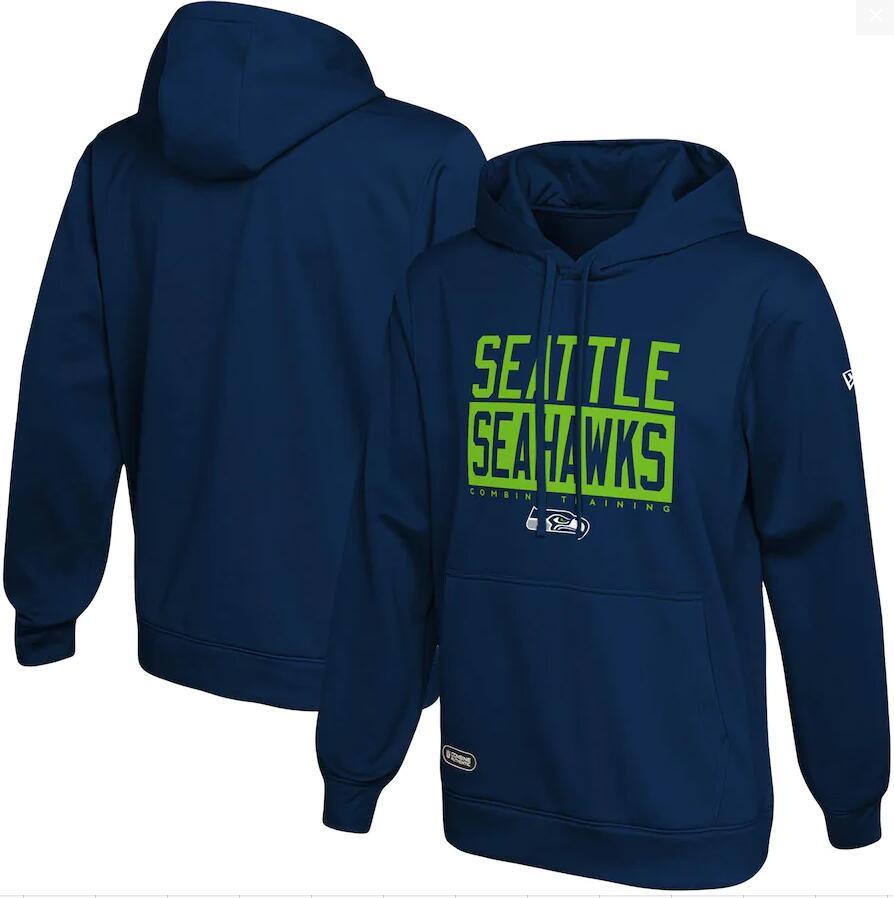 Men's Seattle Seahawks New Era College Navy School of Hard Knocks Pullover Hoodie