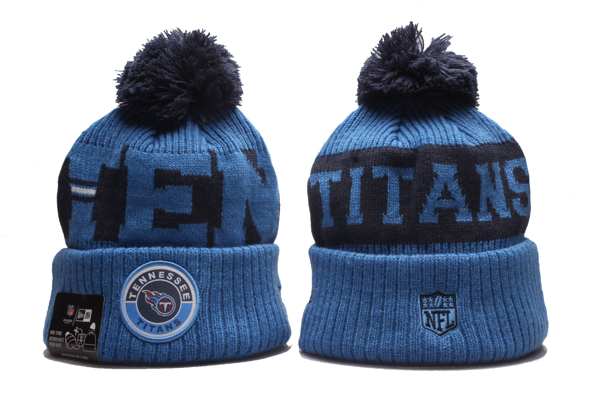 Titans Team Logo Blue 2020 NFL Sideline Pom Cuffed Knit Hat YP