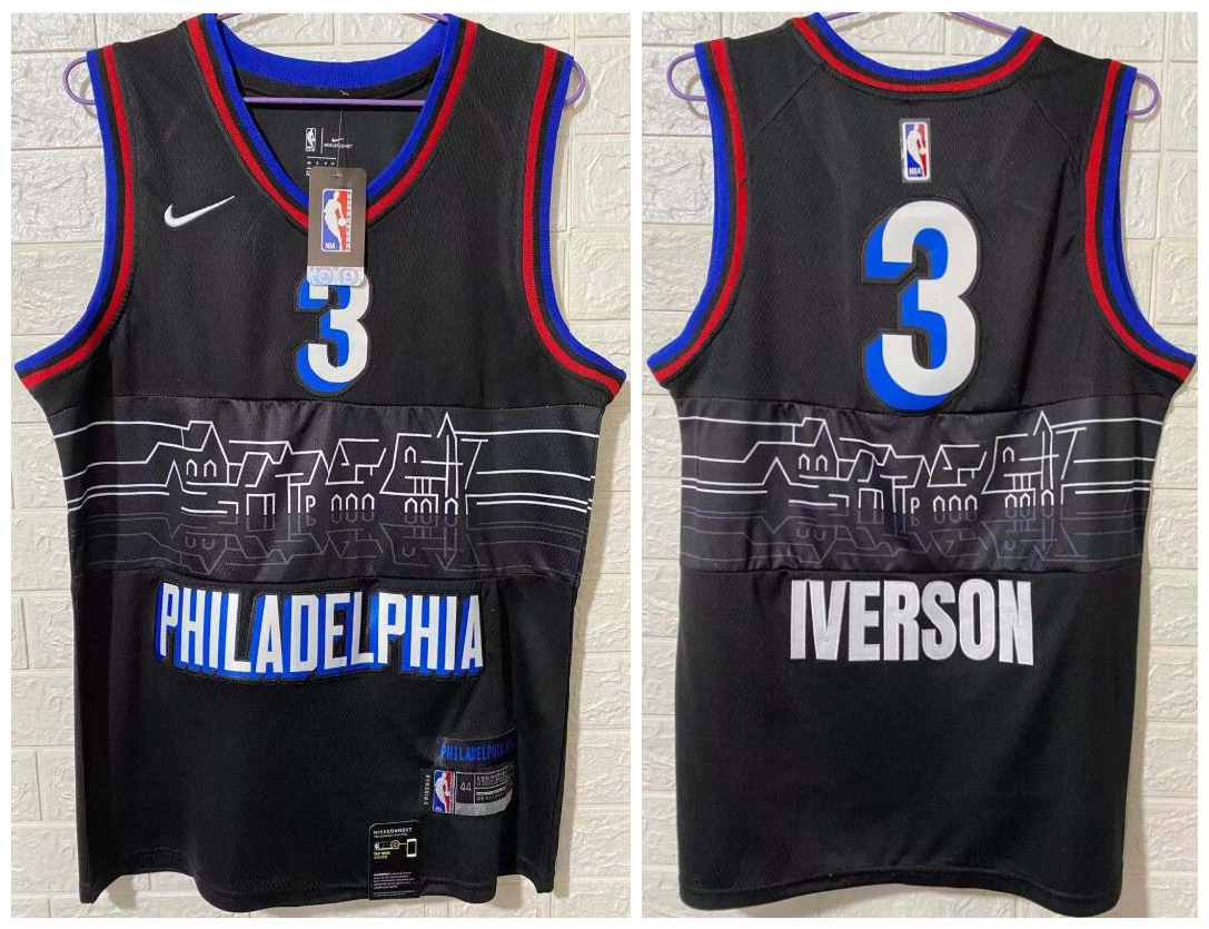 76ers 3 Allen Iverson Black 2020-21 City Edition Nike Swingman Jersey