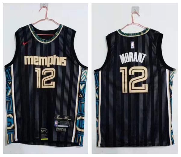 Grizzlies 12 Ja Morant Black 2020-21 City Edition Nike Swingman Jersey