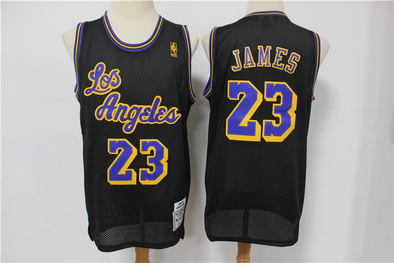 Lakers 23 Lebron James Black Mesh Hardwood Classics Jersey