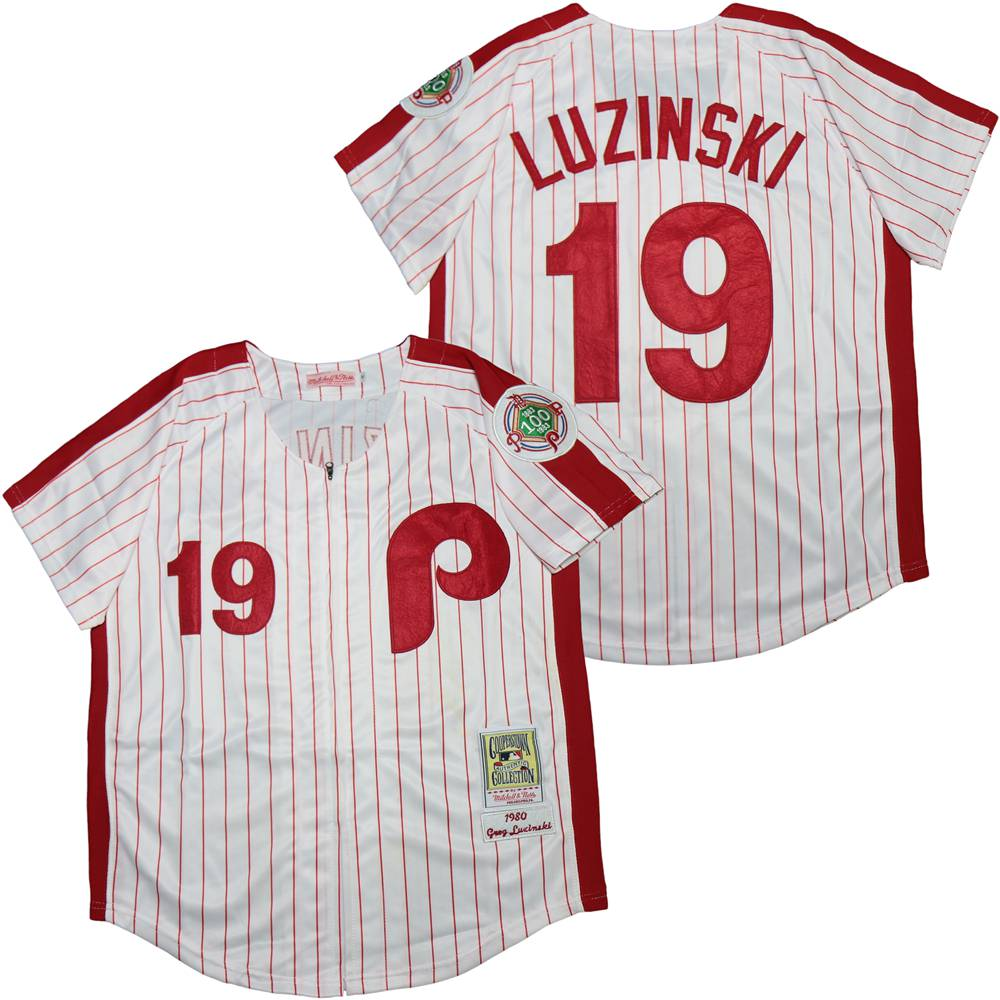 Phillies 19 Greg Luzinski White 100th 1980 Cooperstown Collection Jersey