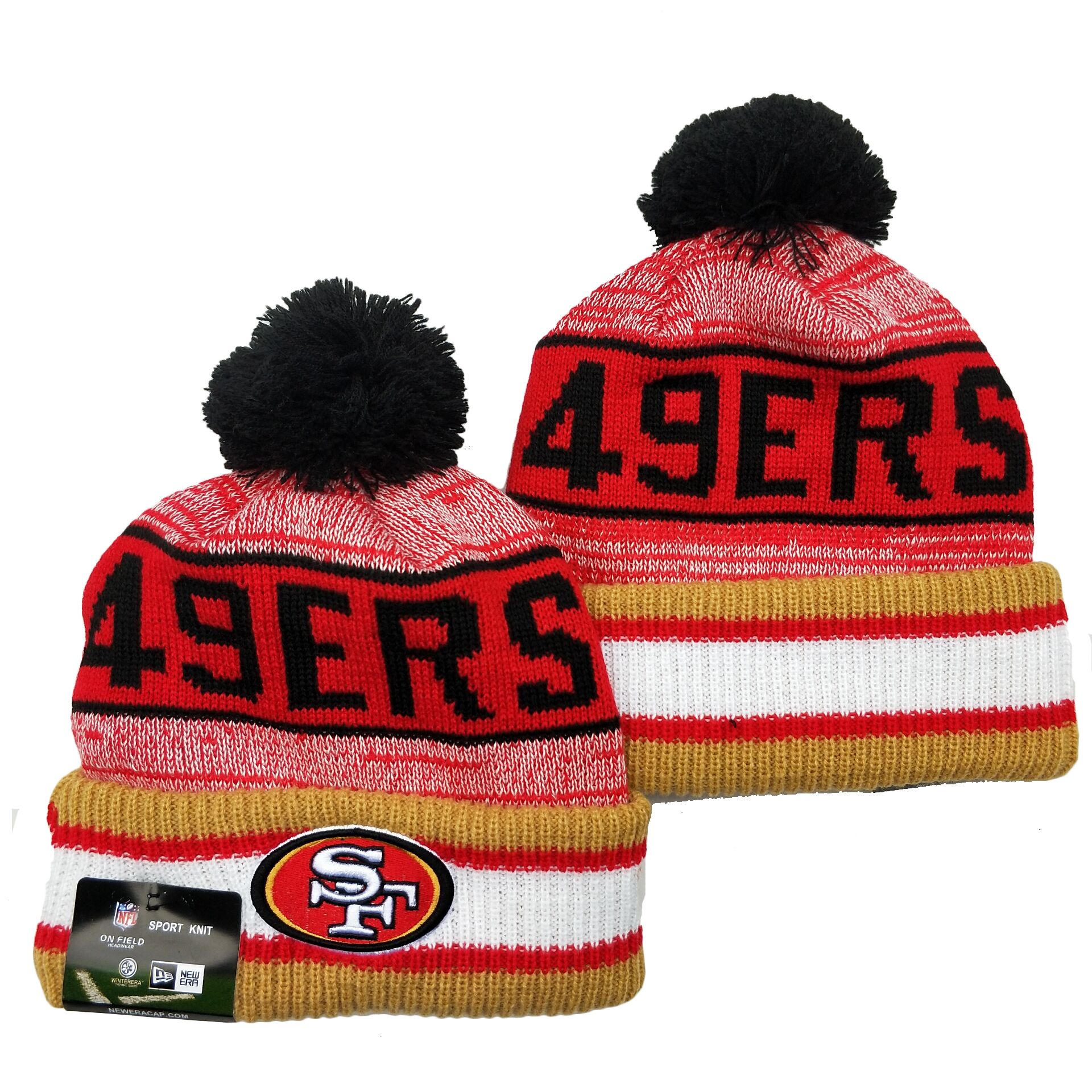 49ers Team Logo Red Pom Cuffed Knit Hat YD