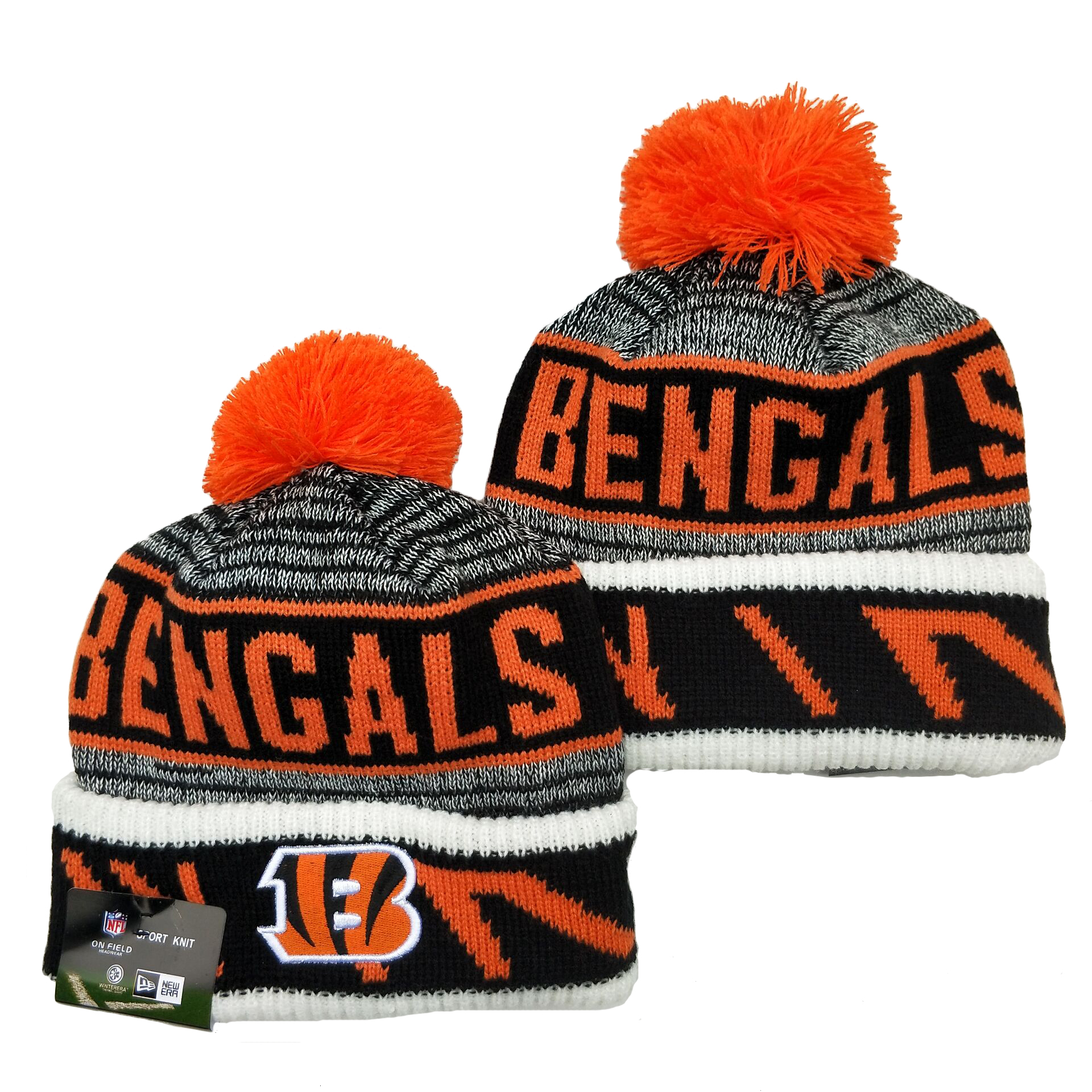 Bengals Team Logo Orange Gray Pom Cuffed Knit Hat YD