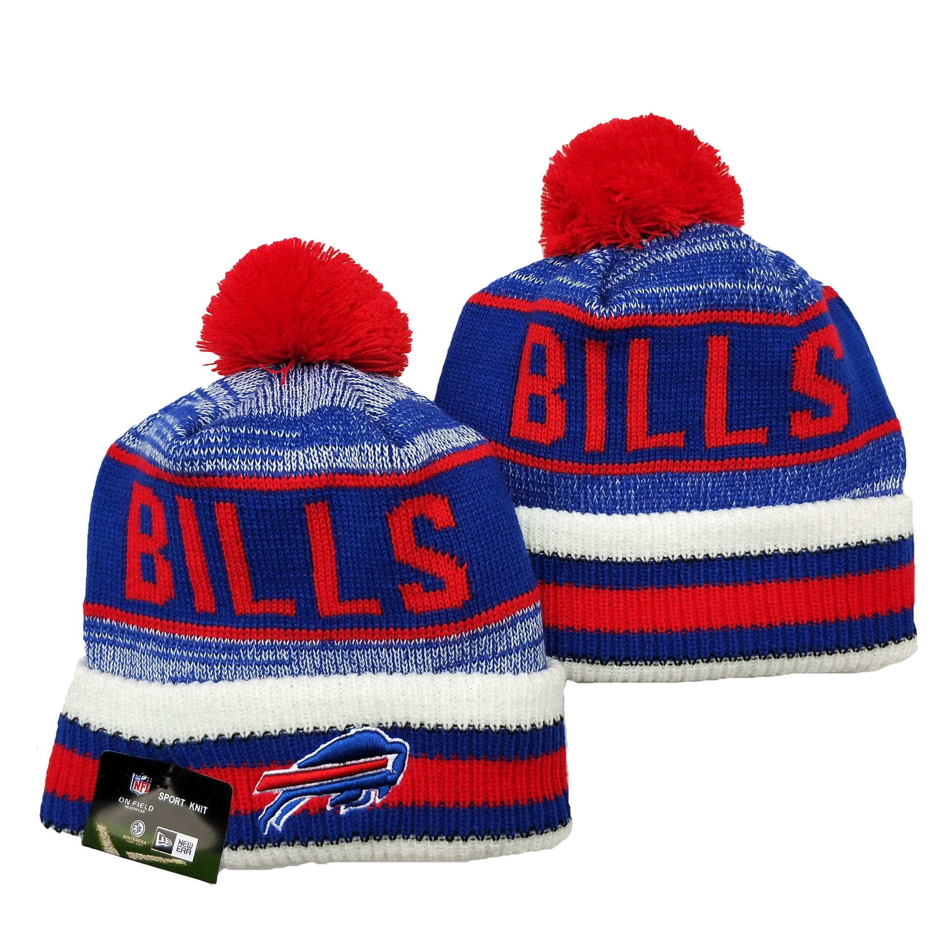 Bills Team Logo Royal Red Pom Cuffed Knit Hat YD