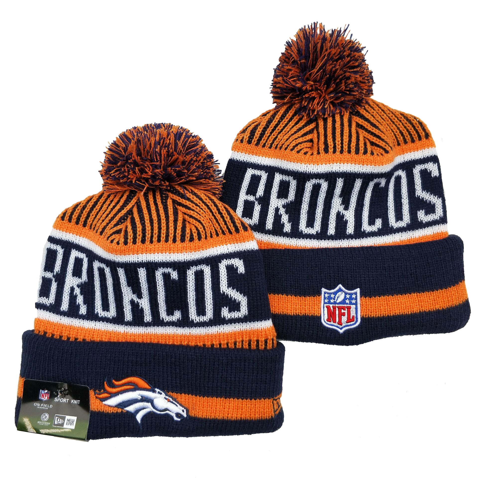 Broncos Team Logo Navy Orange Pom Cuffed Knit Hat YD