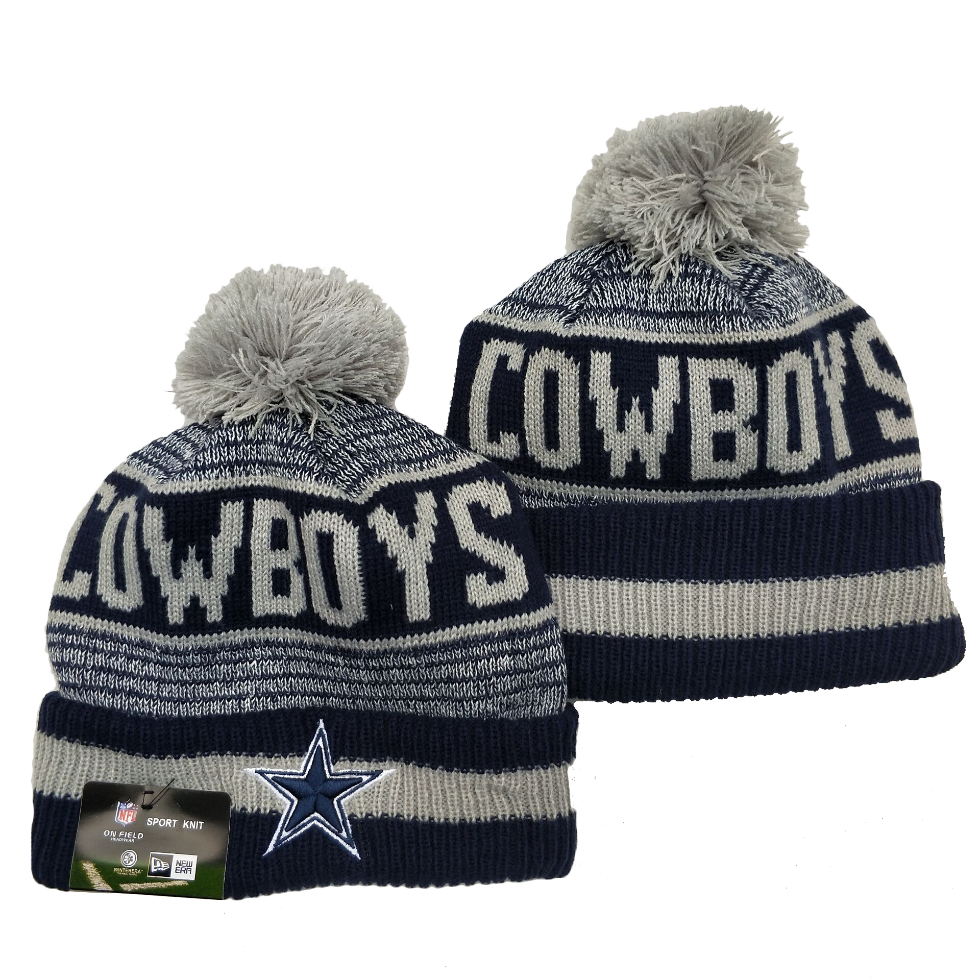 Cowboys Team Logo Navy Pom Cuffed Knit Hat YD