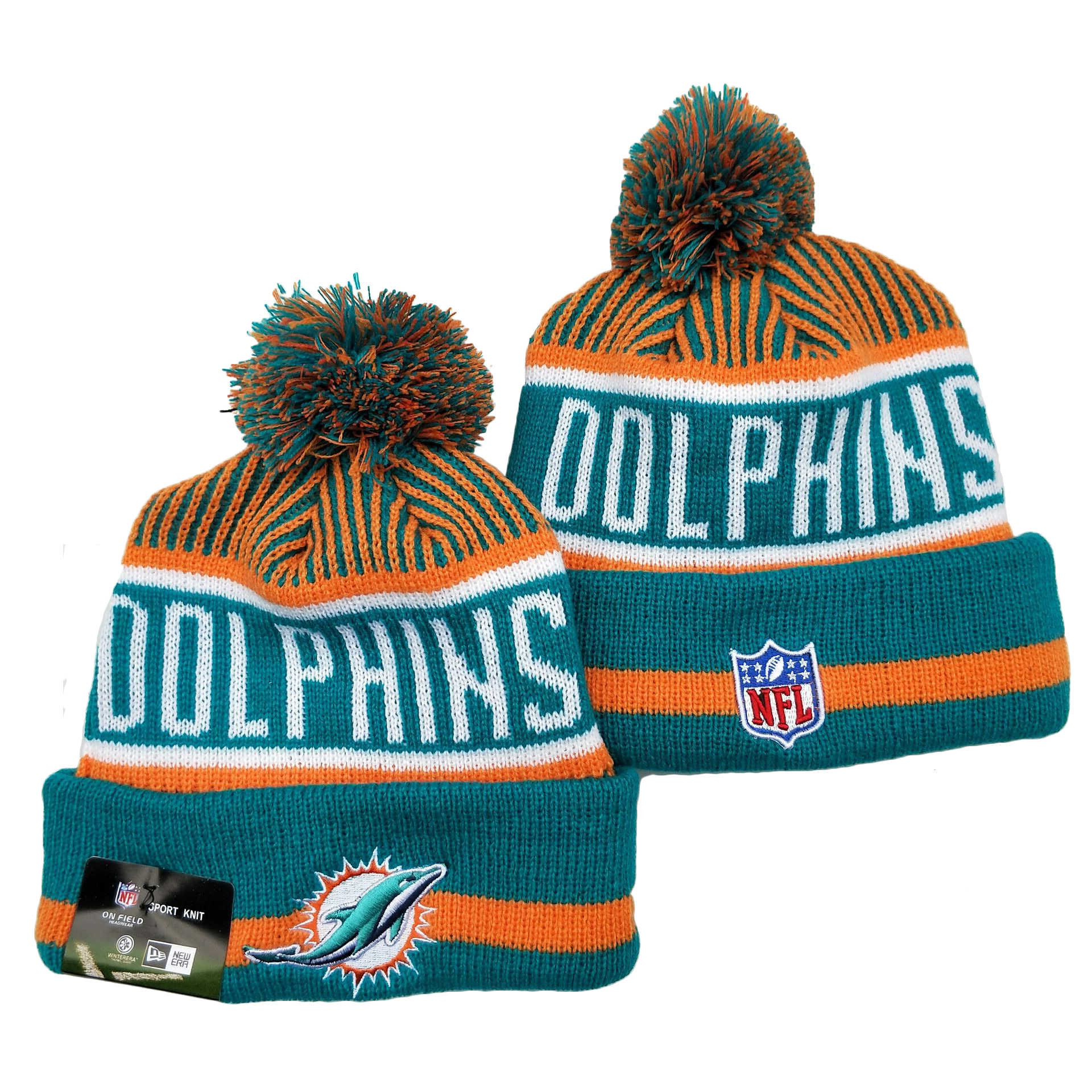 Dolphins Team Logo Aqua Orange Pom Cuffed Knit Hat YD