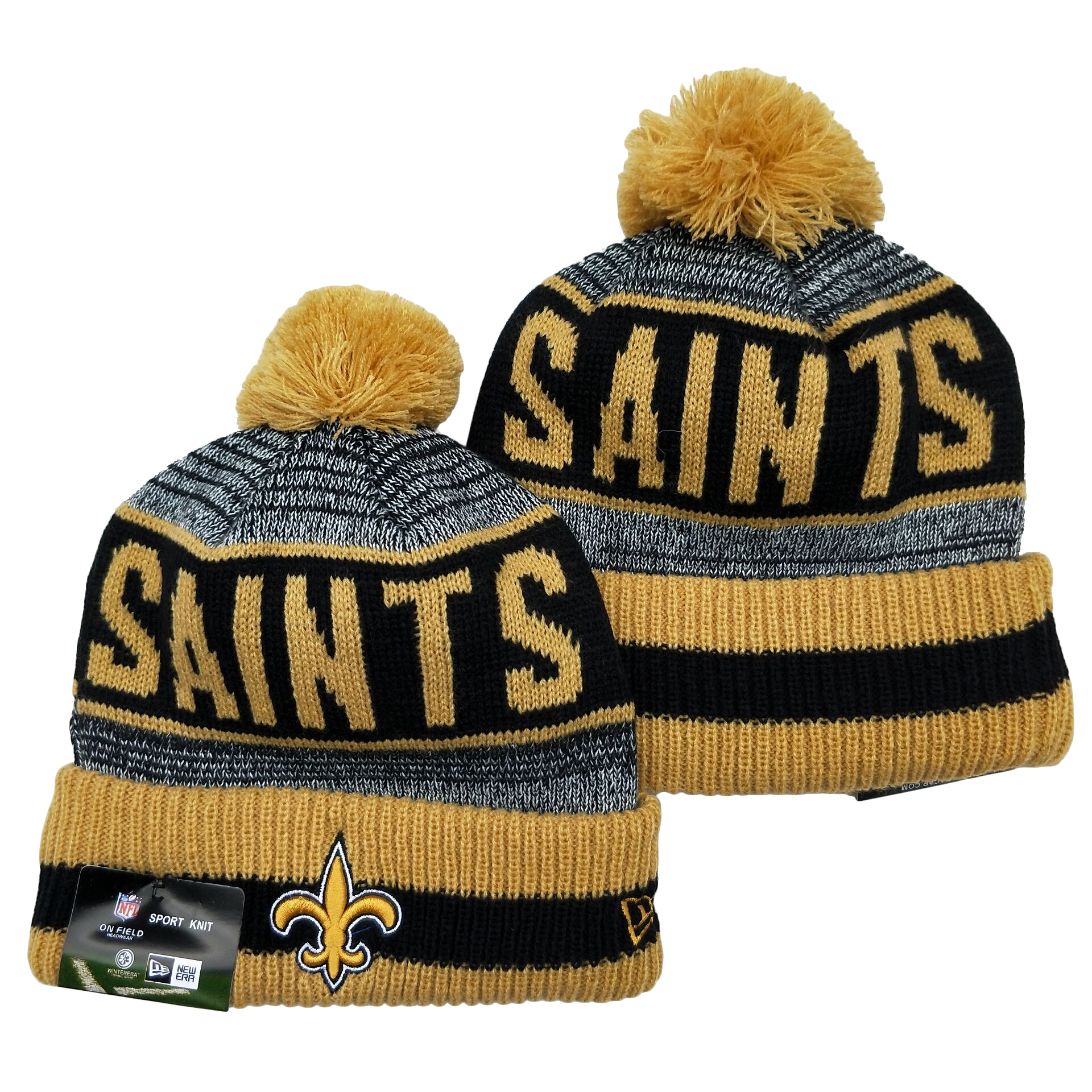 Saints Team Logo Gray Cream Pom Cuffed Knit Hat YD