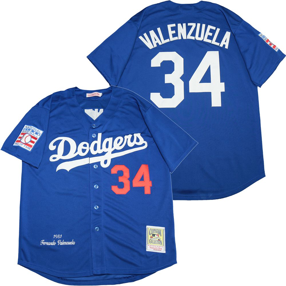 Dodgers 34 Fernando Valenzuela Royal 1981 Cooperstown Collection Jersey