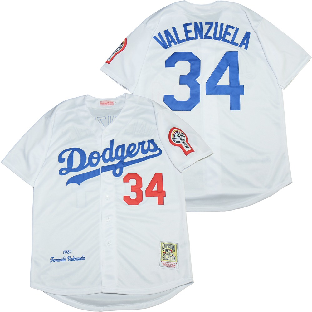 Dodgers 34 Fernando Valenzuela White 1981 Cooperstown Collection Jersey