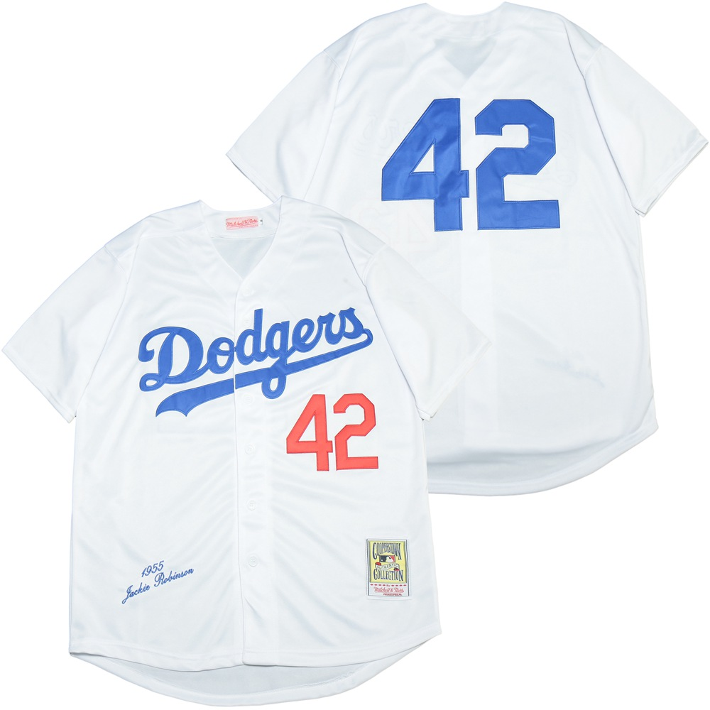 Dodgers 42 Jackie Robinson White 1955 Cooperstown Collection Jersey