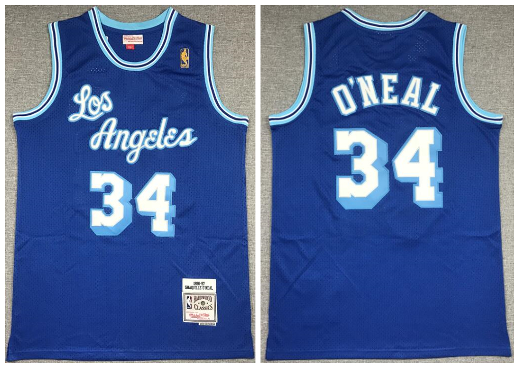 Lakers 34 Shaquille O'Neal Blue 1996-97 Hardwood Classics Mesh Jersey