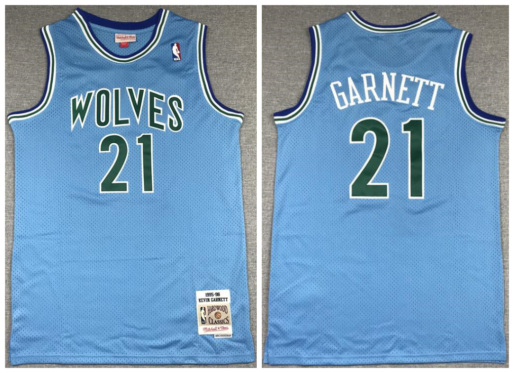 Timberwolves 21 Kevin Garnett Blue 1995-96 Hardwood Classics Jersey