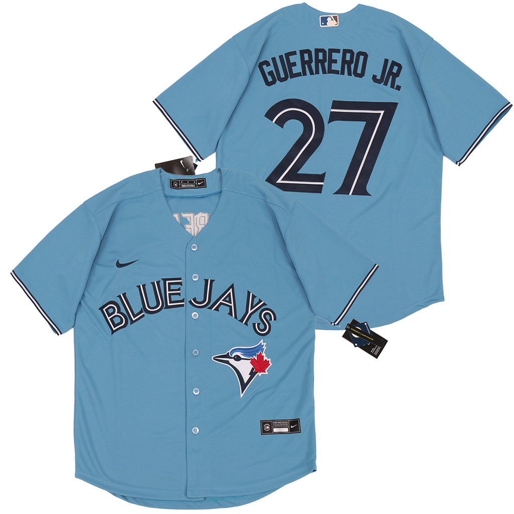 Blue Jays 27 Vladimir Guerrero Jr. Light Blue 2020 Nike Cool Base Jersey