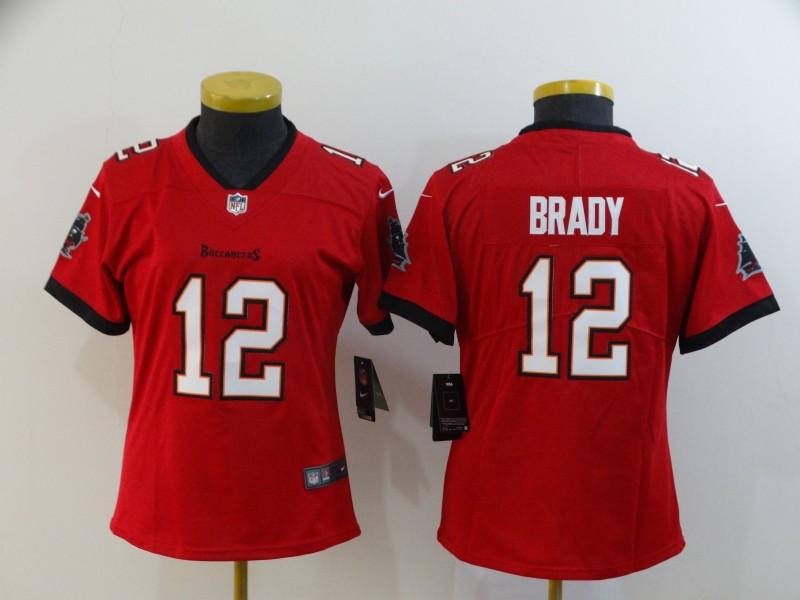 Nike Buccaneers 12 Tom Brady Red Women New 2020 Vapor Untouchable Limited Jersey