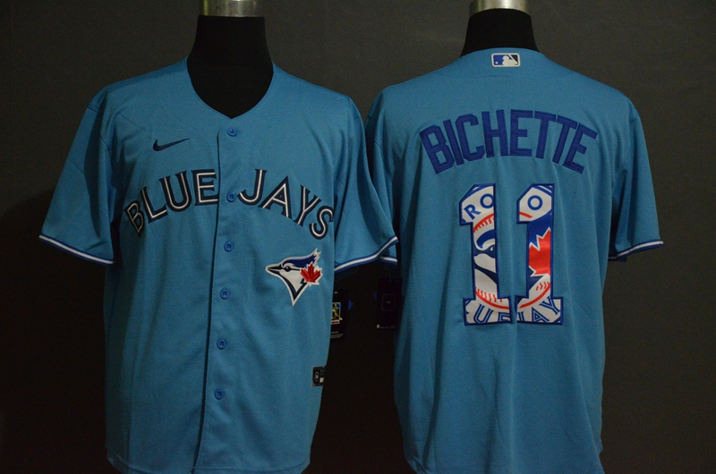 Blue Jays 11 Bo Bichette Light Blue 2020 Nike Cool Base Fashion Jersey