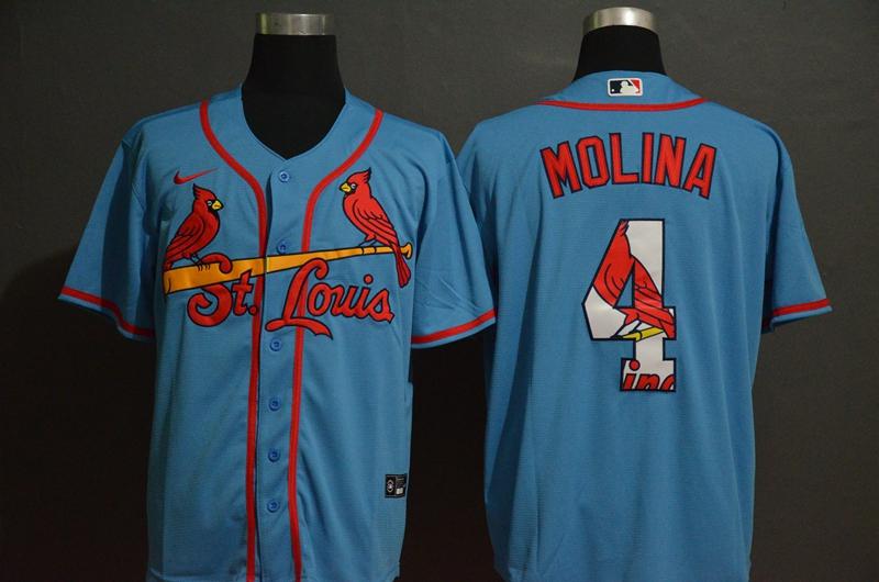 Cardinals 4 Yadier Molina Light Blue 2020 Nike Cool Base Fashion Jersey