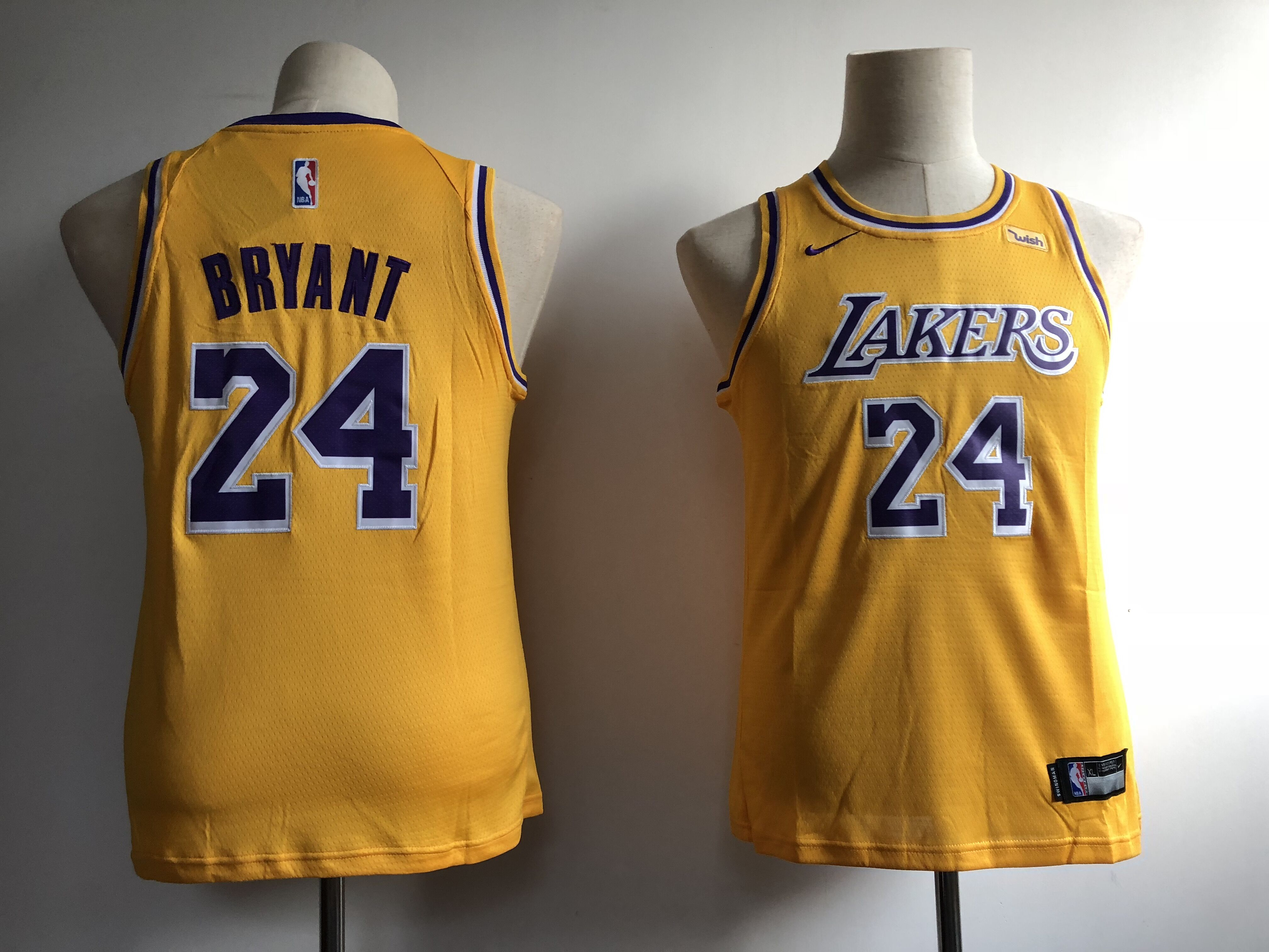 Lakers 24 Kobe Bryant Yellow Youth Nike Swingman Jersey