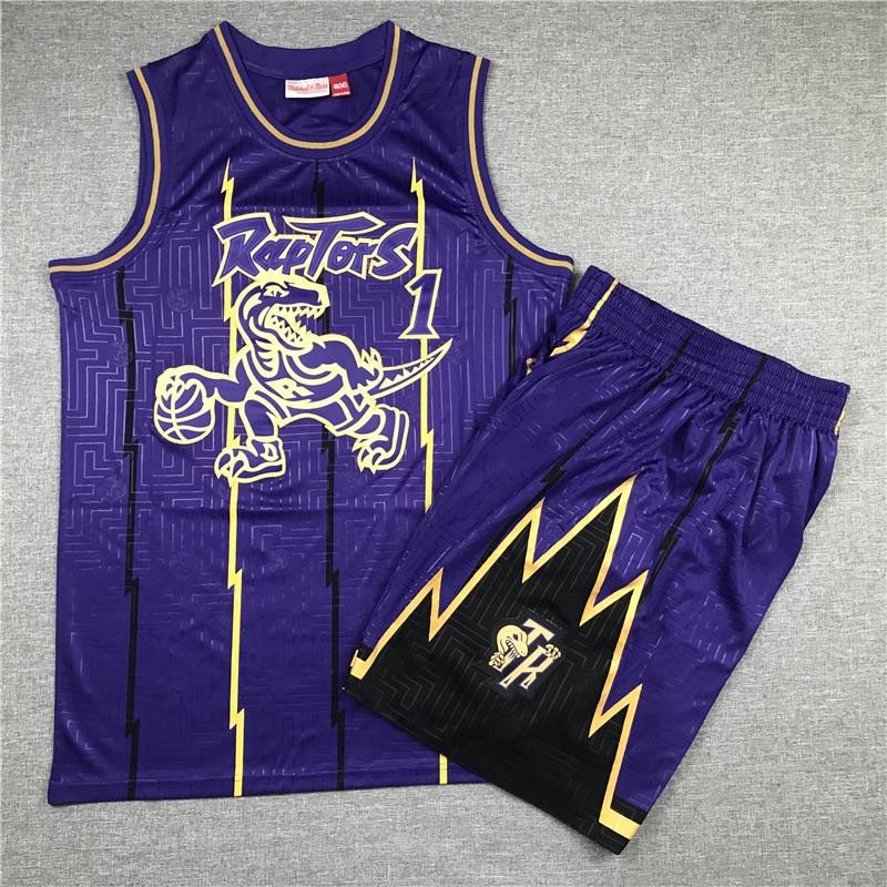 Raptors 1 Tracy McGrady Purple 1998-99 Hardwood Classics Jersey(With Shorts)