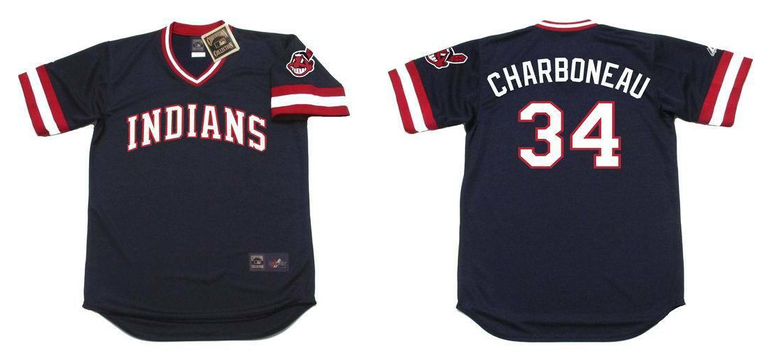 Indians 34 Joe Charboneau Black 1980's Throwback Cool Base Jersey