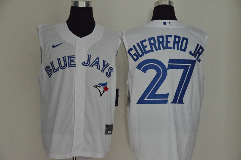Blue Jays 27 Vladimir Guerrero Jr. White Nike Cool Base Sleeveless Jersey