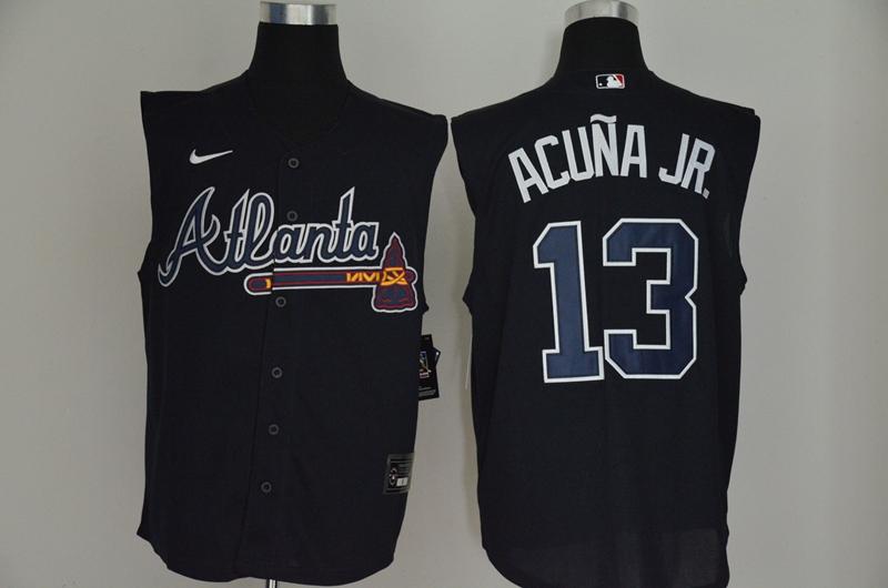 Braves 13 Ronald Acuna Jr. Navy Nike Cool Base Sleeveless Jersey
