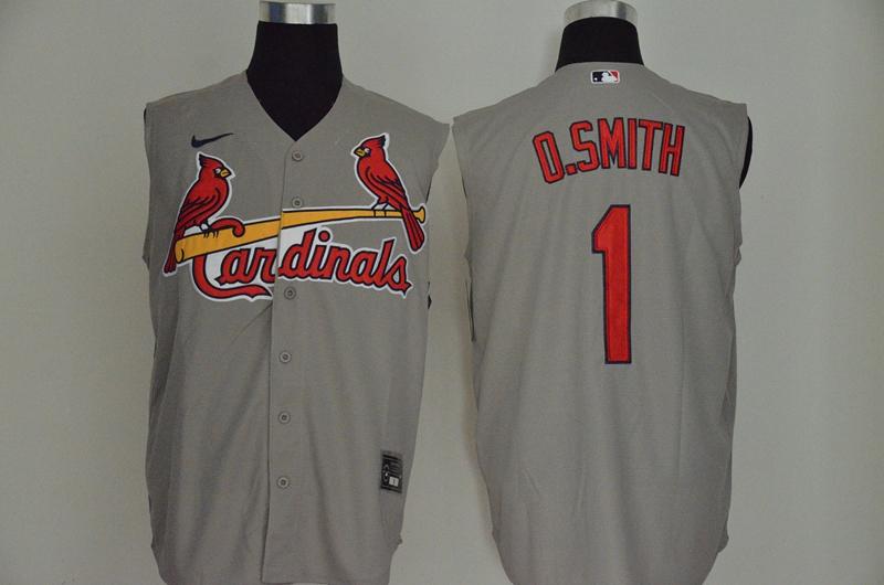 Cardinals 1 O.Smith Gray Nike Cool Base Sleeveless Jersey