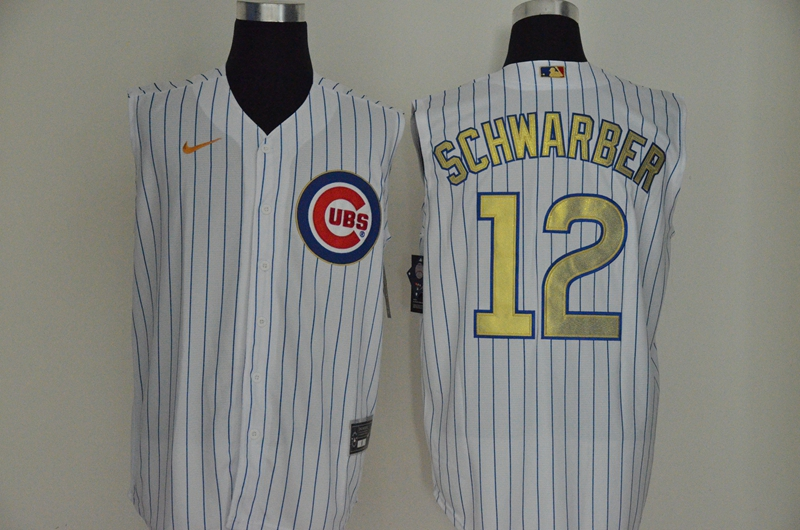 Cubs 12 Kyle Schwarber White Gold Nike Cool Base Sleeveless Jersey