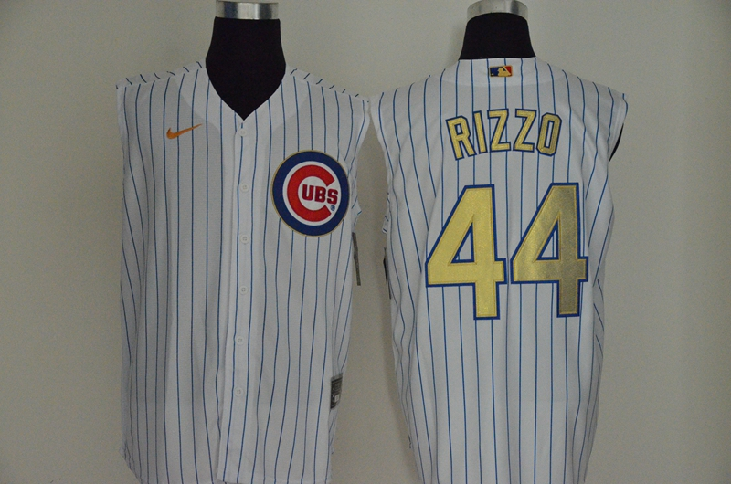 Cubs 44 Anthony Rizzo White Gold Nike Cool Base Sleeveless Jersey