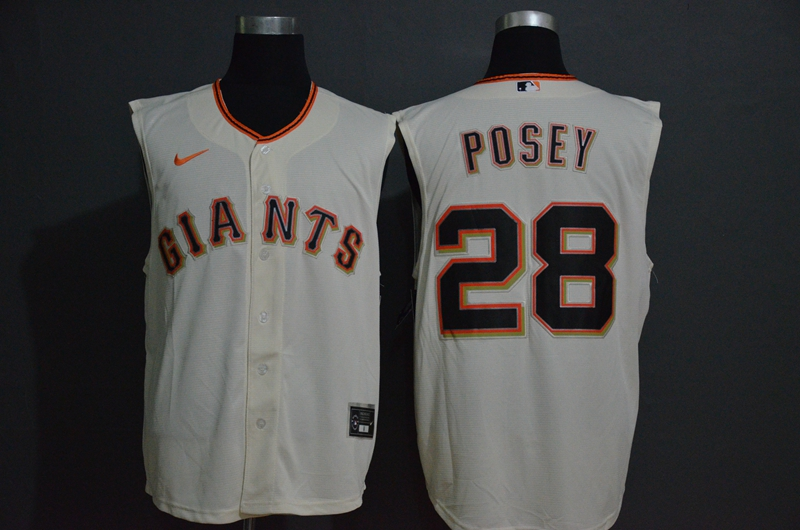 Giants 28 Buster Posey White Nike Cool Base Sleeveless Jersey