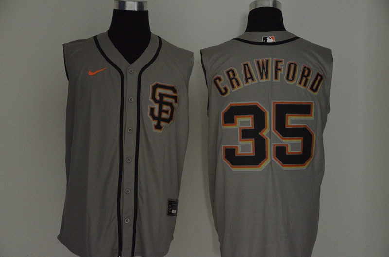 Giants 35 Brandon Crawford Gray Nike Cool Base Sleeveless Jersey
