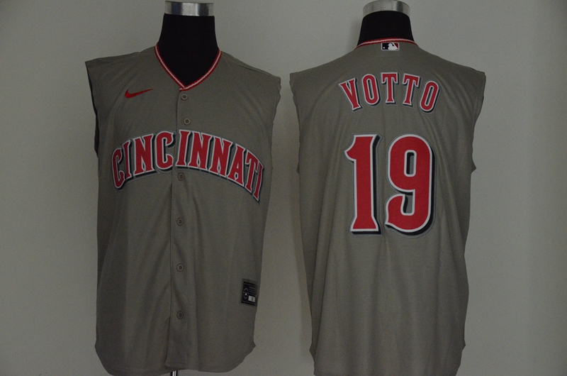 Reds 19 Joey Votto Gray Nike Cool Base Sleeveless Jersey