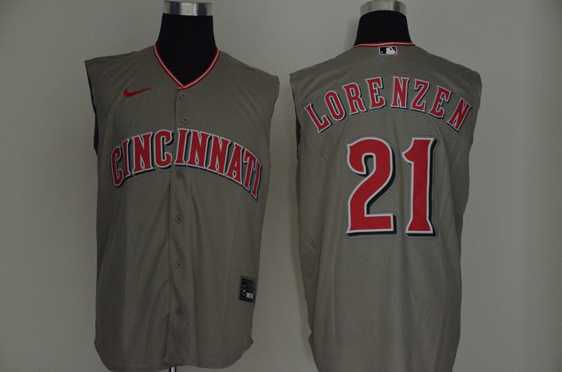 Reds 21 Michael Lorenzen Gray Nike Cool Base Sleeveless Jersey