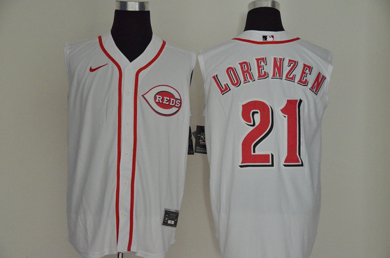 Reds 21 Michael Lorenzen White Nike Cool Base Sleeveless Jersey