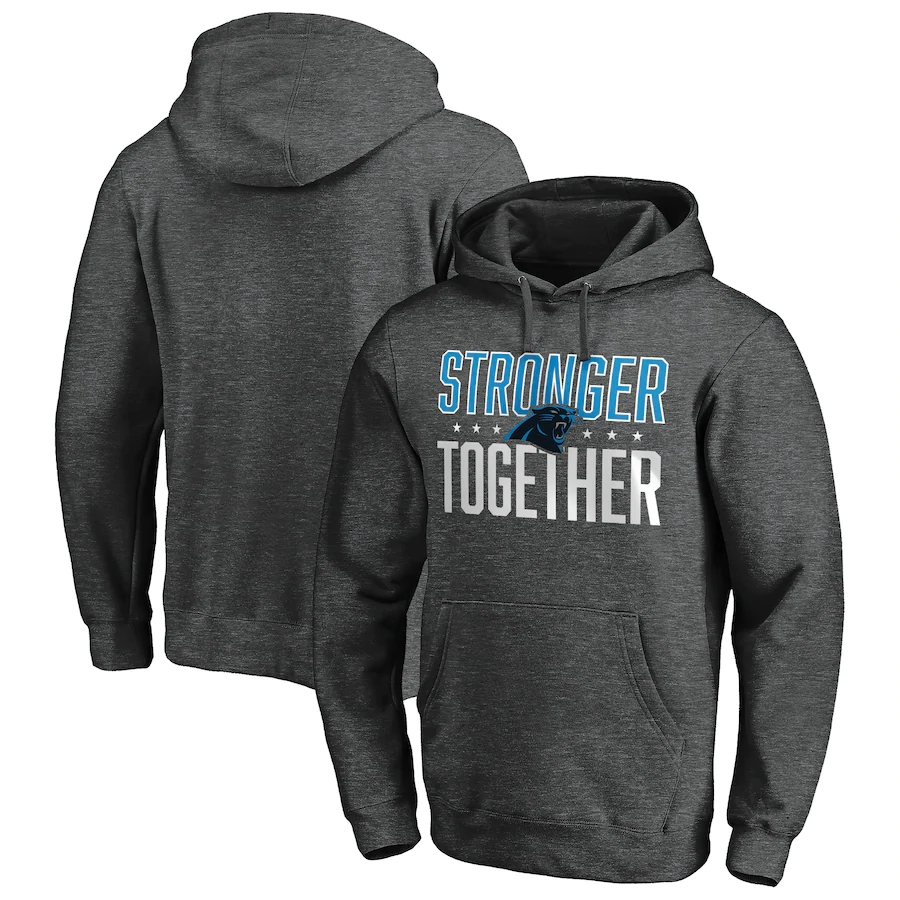 Carolina Panthers Heather Charcoal Stronger Together Pullover Hoodie
