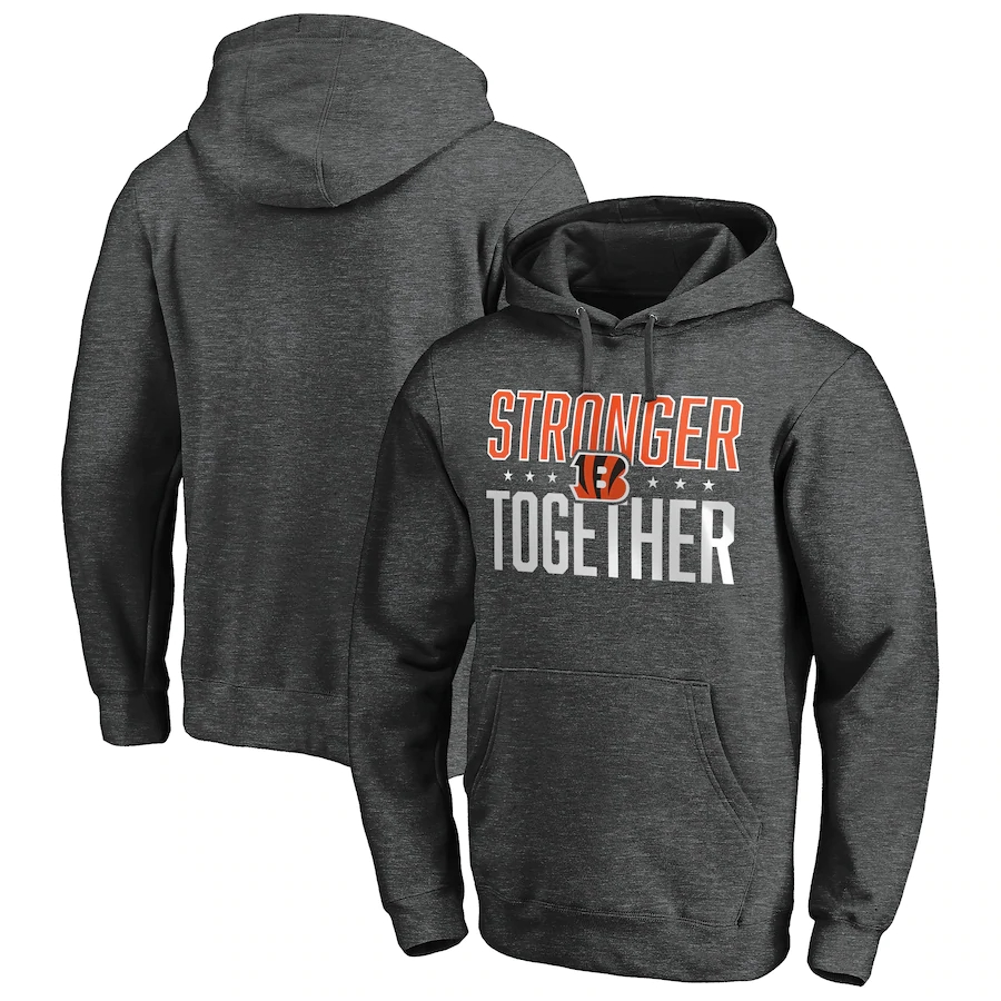 Cincinnati Bengals Heather Charcoal Stronger Together Pullover Hoodie