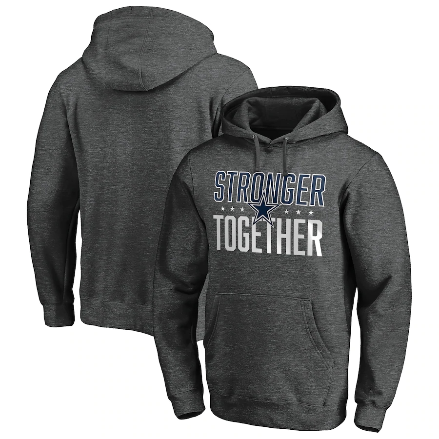 Dallas Cowboys Heather Charcoal Stronger Together Pullover Hoodie