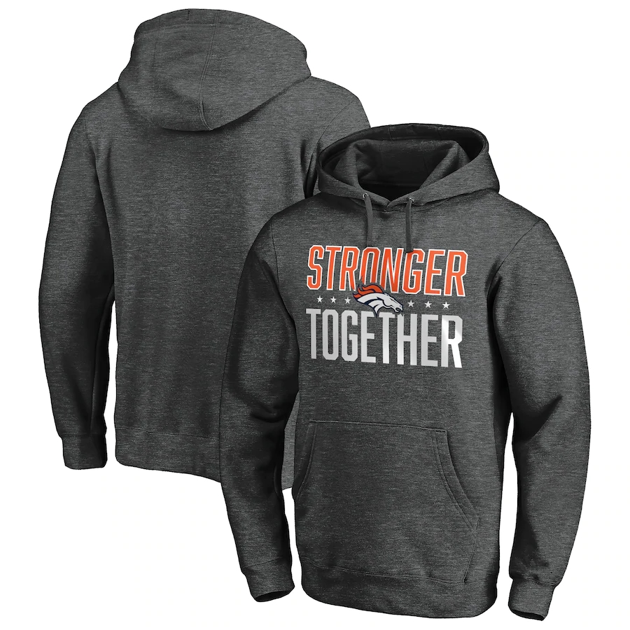 Denver Broncos Heather Charcoal Stronger Together Pullover Hoodie